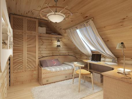 bedroom and office in garden room. wooden room in garden