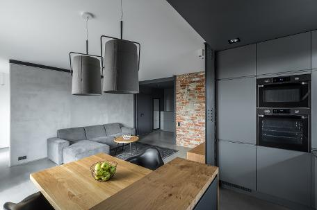gun metal grey kitchen, open plan garage conversion